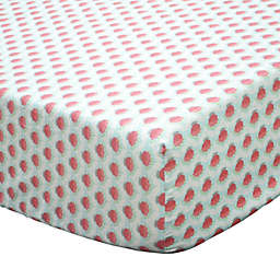 The Peanutshell™ Gia Geometric Floral Fitted Crib Sheet in Coral/Mint