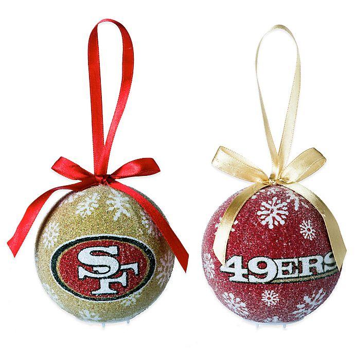 NFL San Francisco 49ers LED Lighted Christmas Ornament Set ...