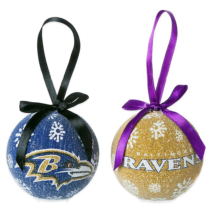 View a larger version of this product image - NFL Baltimore Ravens LED Lighted Christmas Ornament Set (Set Of 6