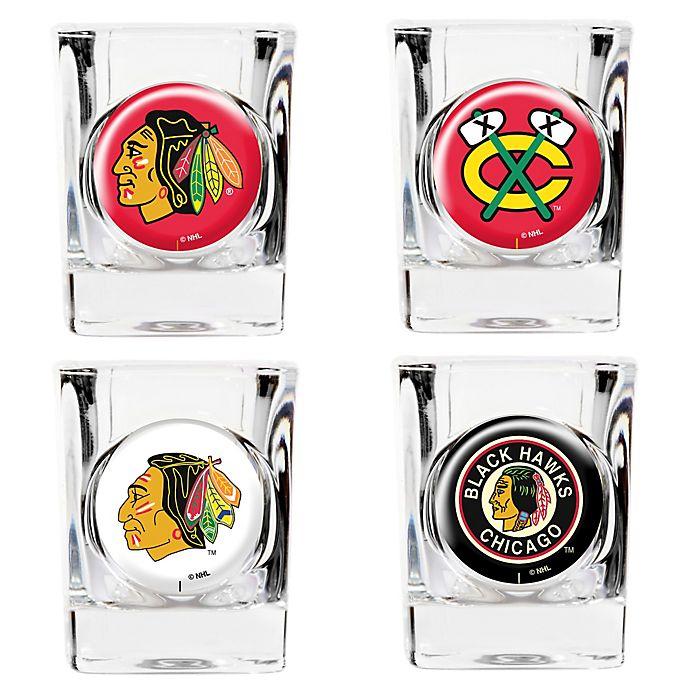 Alternate image 1 for NHL Chicago Blackhawks Collector's Shot Glasses (Set of 4)