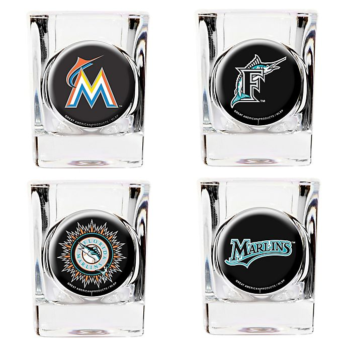 Alternate image 1 for MLB Miami Marlins Collector's Shot Glasses (Set of 4)