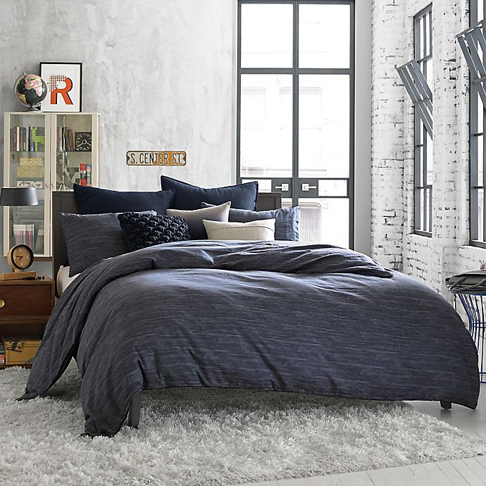Alternate image 1 for Kenneth Cole Reaction Home Element Reversible Duvet Cover in Indigo