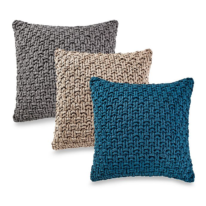 Alternate image 1 for Kenneth Cole Reaction Home Chunky Knit Square Throw Pillow