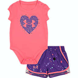 Under Armour® 2-Piece Heart Logo Bodysuit and Short Set in Pink/Purple Speckle