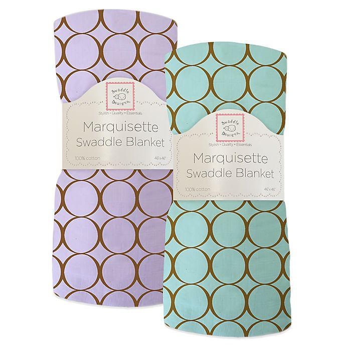 Alternate image 1 for Swaddle Designs® Mocha Mod Circles Marquisette Swaddling Blanket