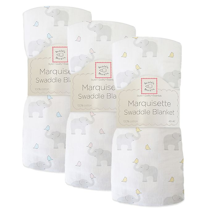 Alternate image 1 for SwaddleDesigns® Elephant & Chickies Marquisette Swaddle Blanket