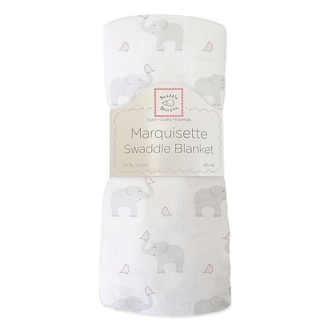 Alternate image 1 for SwaddleDesigns® Elephant & Chickies Marquisette Swaddle Blanket in Blushing Rose