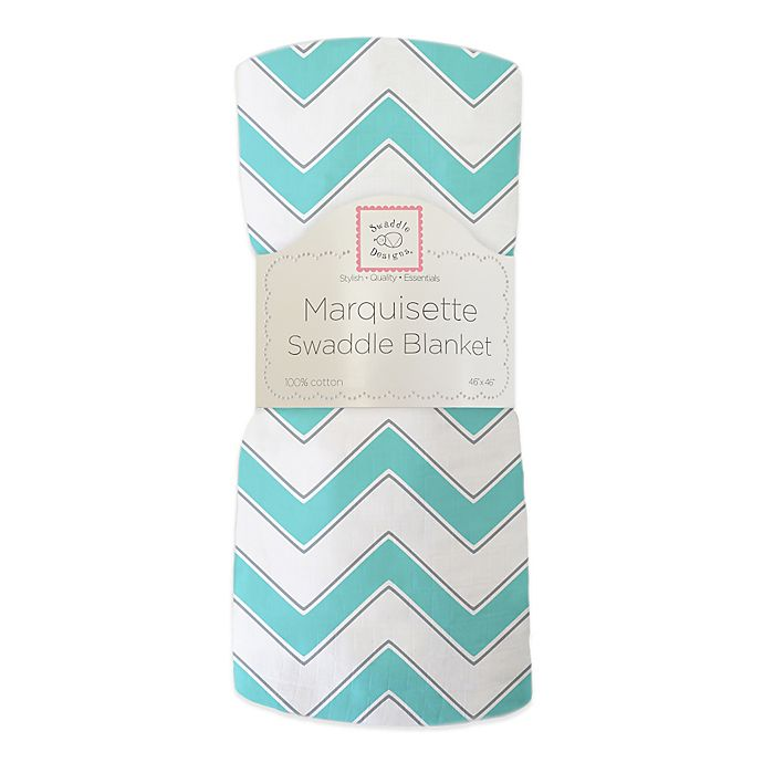 Alternate image 1 for SwaddleDesigns® Chevron Marquisette Swaddle Blanket in Turquoise
