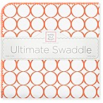 SwaddleDesigns® Ultimate Receiving Blanket with Mod Circles on White in Orange
