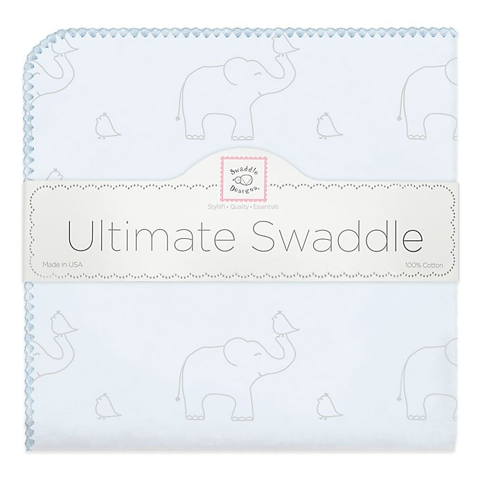 Alternate image 1 for Swaddle Designs Ultimate Receiving Blanket with Sterling Deco Elephant Print in Pastel Blue
