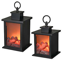 Greyson Home Decorative LED Tabletop Fireplace in Black
