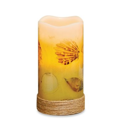 Seashells Flameless Pillar Candle With Led And Timer Bed