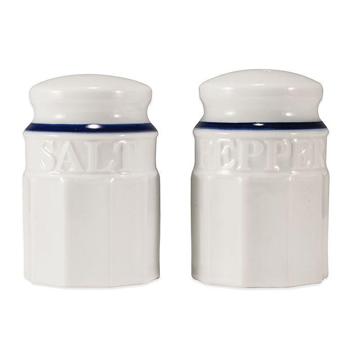 Alternate image 1 for Everyday White® by Fitz and Floyd® Blue Rim Salt & Pepper Shaker Set
