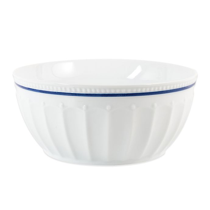 Alternate image 1 for Everyday White® by Fitz and Floyd® 4 qt. Blue Rim Fluted Serve Bowl