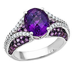 Sterling Silver Oval-Cut Amethyst and White Topaz Ladies' Split Shank Ring