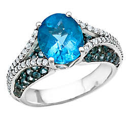 Sterling Silver Oval-Cut Blue and White Topaz Ladies' Split Shank Ring