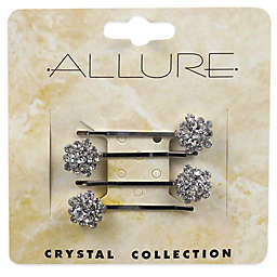 Allure Crystal Collection 4-Pack Rhinestone Cluster Bobby Pins