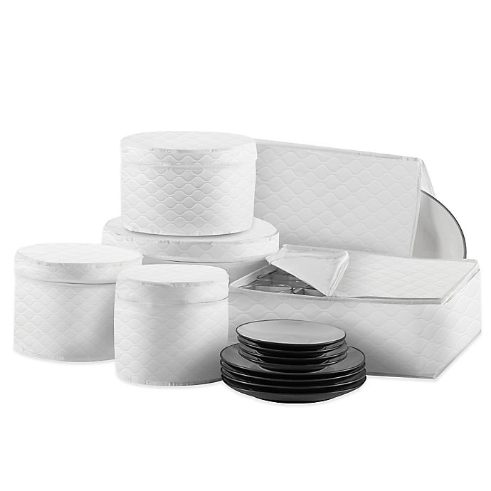 Alternate image 1 for SALT Quilted 6-Piece Dinnerware and Serveware China Storage Protector Set in White