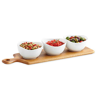 B. Smith® 4-Piece Wooden Paddle Board and Ceramic Bowl Serving Set