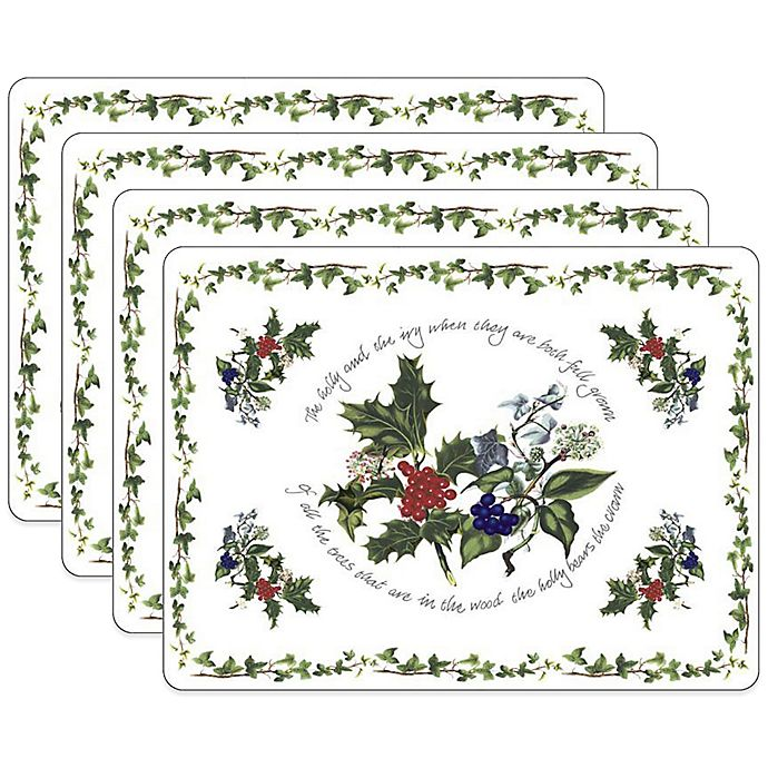 Alternate image 1 for Pimpernel Holly & Ivory Placemats (Set of 4)