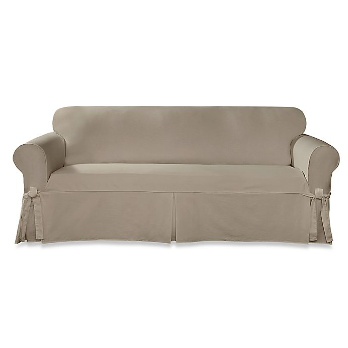 Sure Fit® Designer Twill Sofa Slipcover | Bed Bath & Beyond