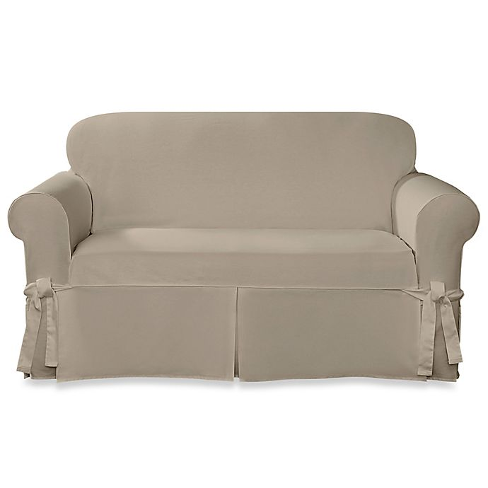 Magnificent Sure Fit Designer Twill Loveseat Slipcover Bed Bath Beyond Gamerscity Chair Design For Home Gamerscityorg