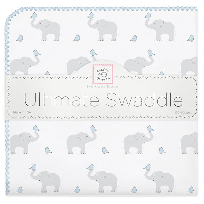 Alternate image 1 for Swaddle Designs® Elephant & Chicks Ultimate Swaddle in Blue