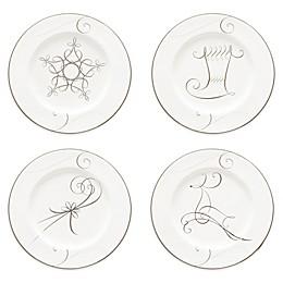 Noritake® Platinum Wave Star/Reindeer/Candy Cane/Stocking Holiday Appetizer Plates (Set of 4)