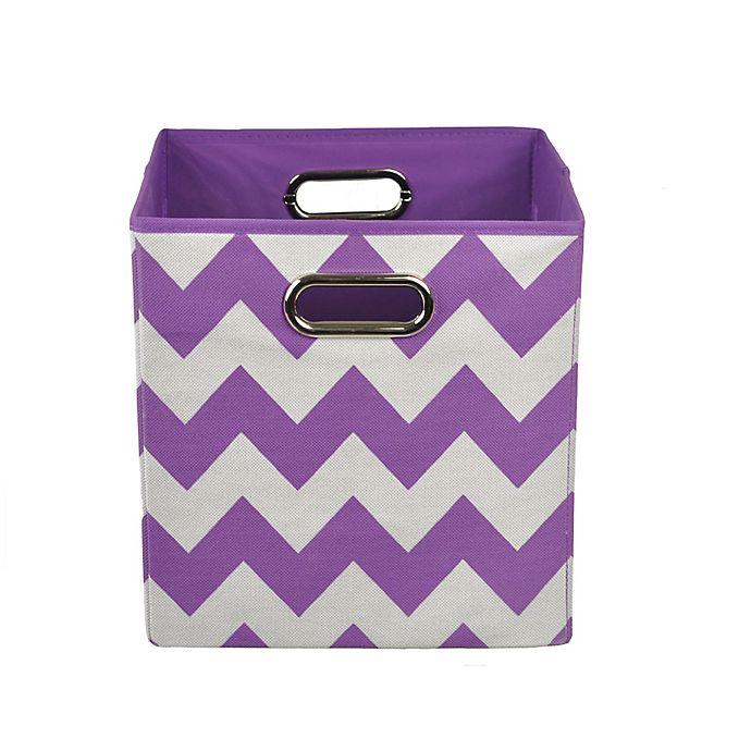 Alternate image 1 for Modern Littles Chevron Folding Storage Bin in Color Pop Purple