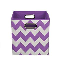 Modern Littles Chevron Folding Storage Bin in Color Pop Purple