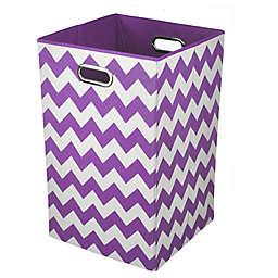Modern Littles Chevron Folding Laundry Basket in Color Pop Purple