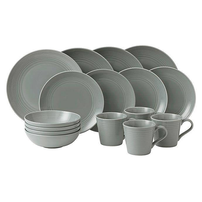 a751cb7661194 Gordon Ramsay by Royal Doulton® Maze 16-Piece Dinnerware Set in Dark Grey