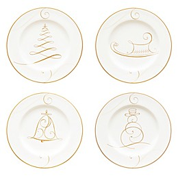 Noritake® Golden Wave Snowman/Bell/Tree/Sleigh Holiday Appetizer Plates (Set of 4)