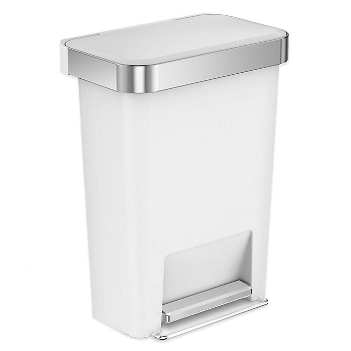 Alternate image 1 for simplehuman® 45-Liter Plastic Rectangular Step Trash Can with Liner Pocket in White