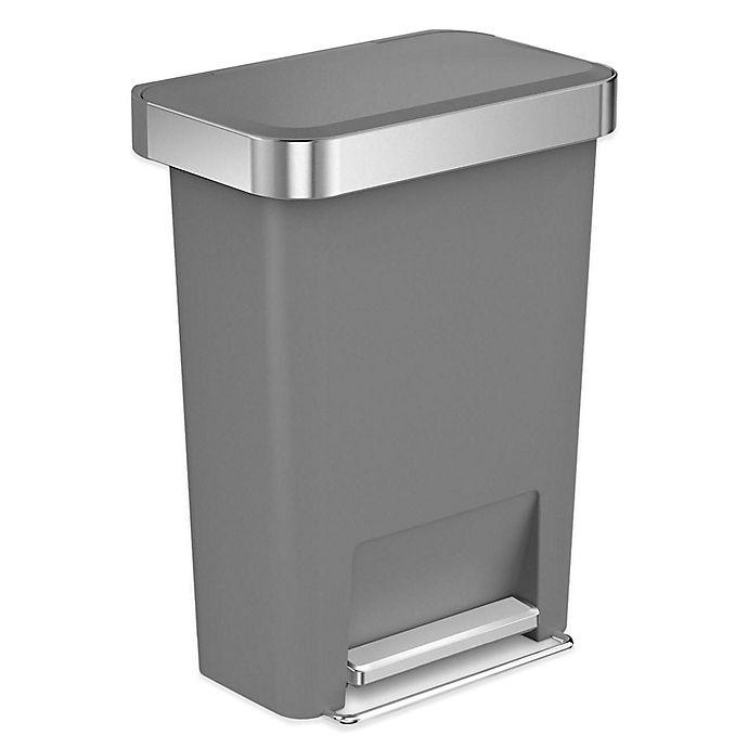 Alternate image 1 for simplehuman® 45-Liter Plastic Rectangular Step Trash Can with Liner Pocket in Grey