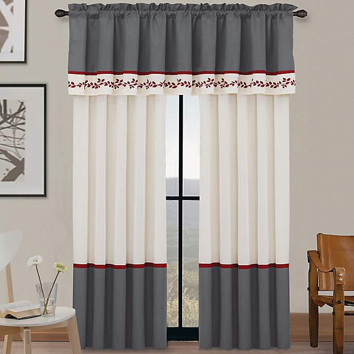 Red Window Curtain Panels Sale: Portola Window Curtain Panel And Valance In Red/White