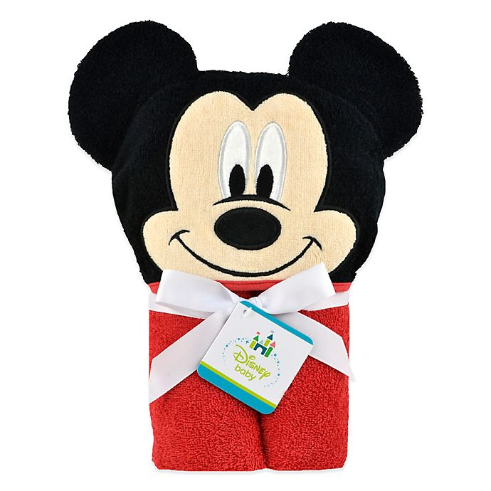 Alternate image 1 for Disney® Mickey Mouse Hooded Towel in Red/Black