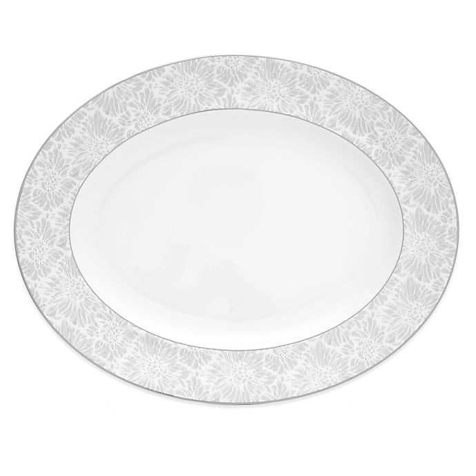 Alternate image 1 for Vera Wang Wedgwood® Vera Chantilly Lace Oval Platter in Grey