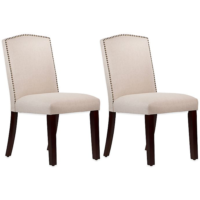 Alternate image 1 for Roseyln Nail Button Arched Dining Chairs in Linen Talc (Set of 2)