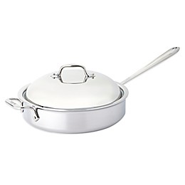 All-Clad D3 Stainless Steel 4 qt. Covered Saute Pan with Helper Handle
