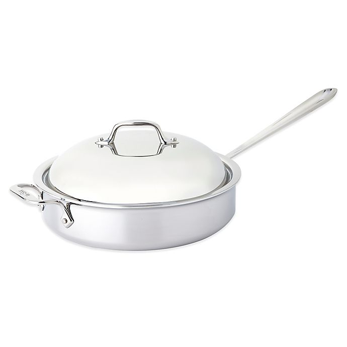 Alternate image 1 for All-Clad D3 4 qt. Stainless Steel Covered Saute Pan with Helper Handle