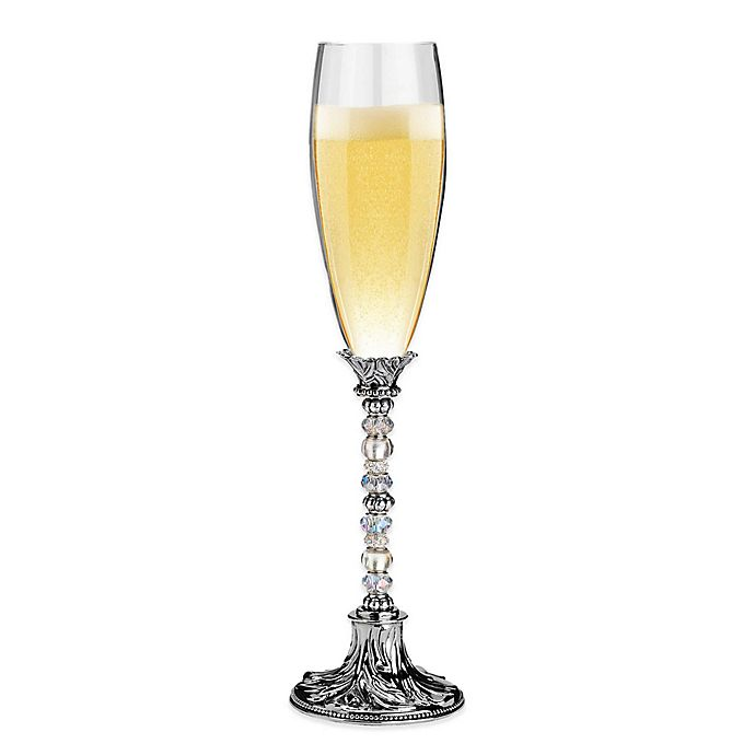 Alternate image 1 for Lillian Rose™ Beaded Toasting Flutes in Silver (Set of 2)