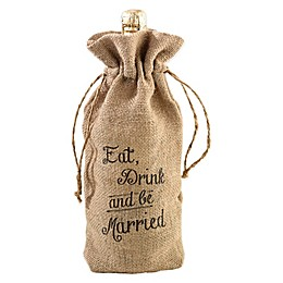 Lillian Rose™ Eat Drink and Be Married Burlap Wine Bag