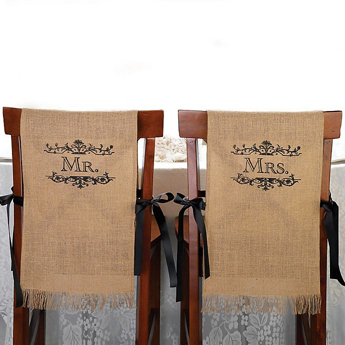 Awesome Lillian Rose Mr And Mrs Burlap Chair Covers Pabps2019 Chair Design Images Pabps2019Com
