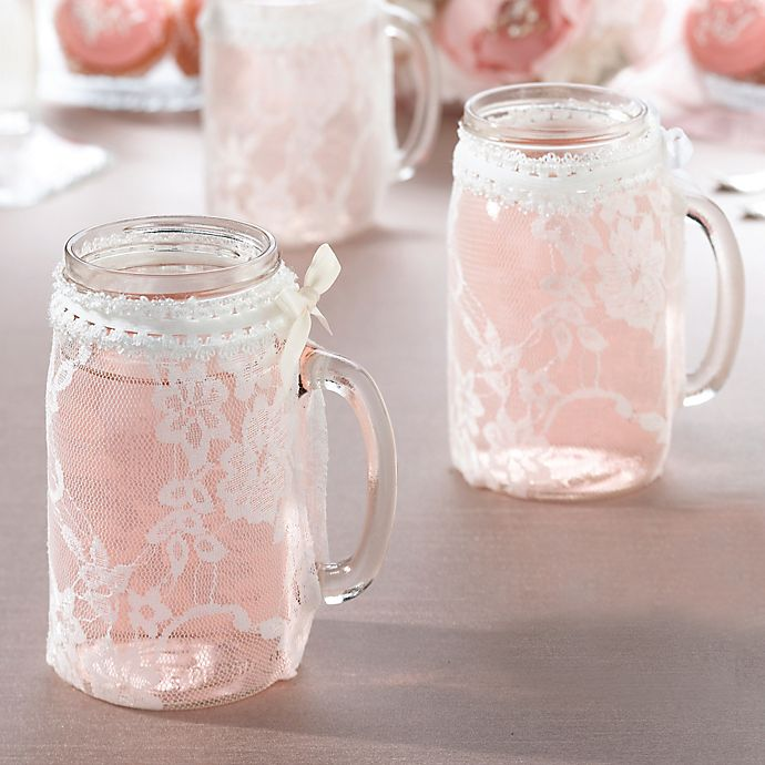 Alternate image 1 for Lillian Rose™ Lace Glass Covers (Set of 4)