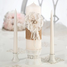 Lillian Rose™ 3-Piece Burlap and Lace Candle Set