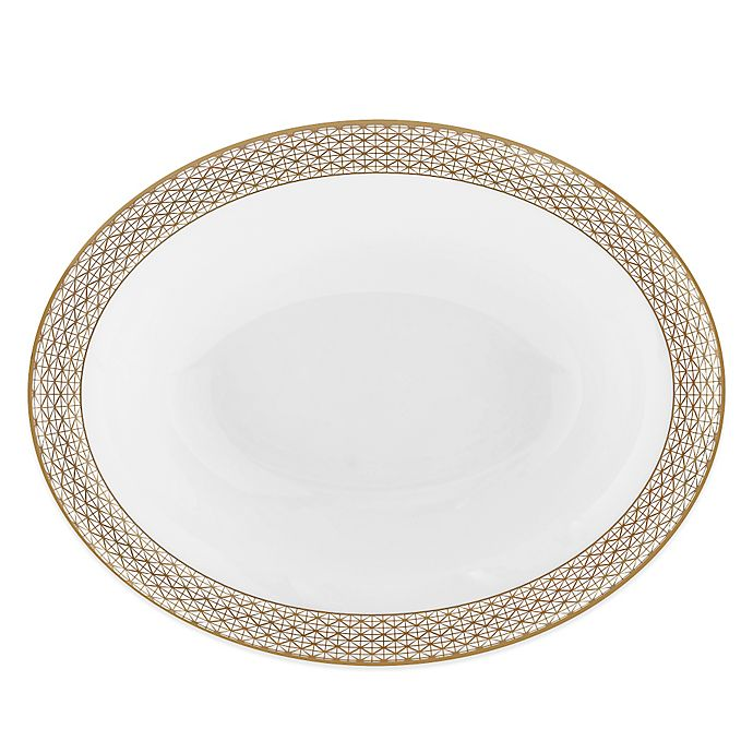 Alternate image 1 for Waterford® Lismore Diamond Gold Oval Vegetable Dish