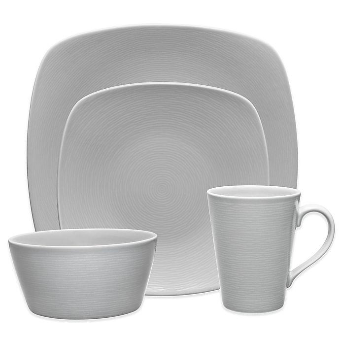 Alternate image 1 for Noritake® Grey on Grey Swirl Square Dinnerware Collection