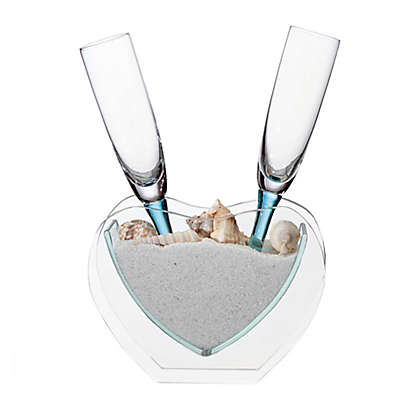 Lillian Rose™ Coastal Sand Toasting Flutes and Heart Vase