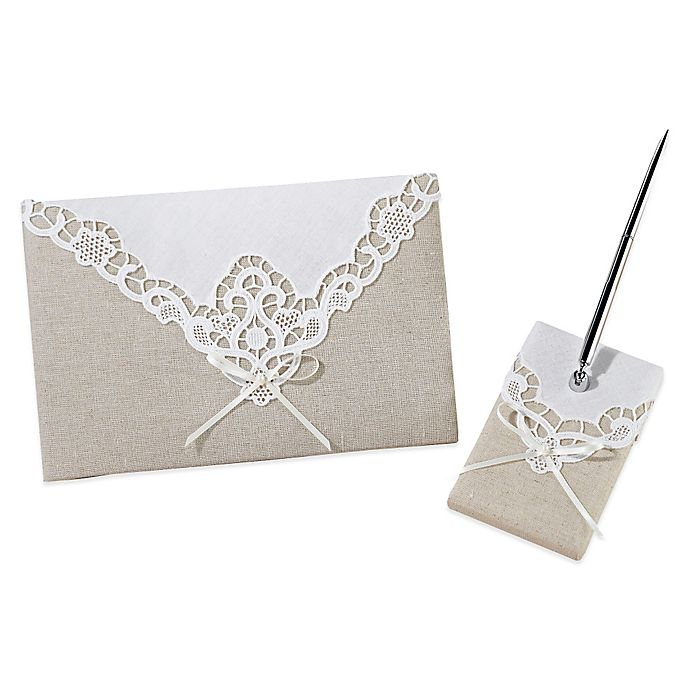 Alternate image 1 for Lillian Rose™ Country Lace Guestbook and Pen Set
